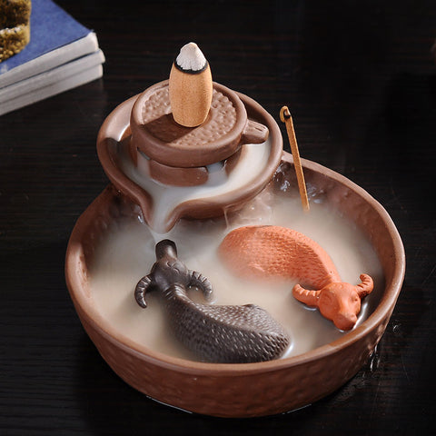 YIN YANG TWINS CARABOU PURPLE CLAY INCENSE BURNER