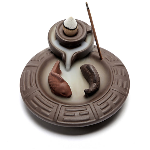 YIN & YANG FISH INCENSE BURNER + 20 FREE CONES