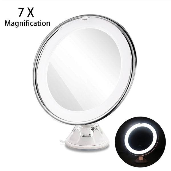 RUIMIO Adjustable 7x Magnification Lighted LED Makeup Mirror Travel Mirror