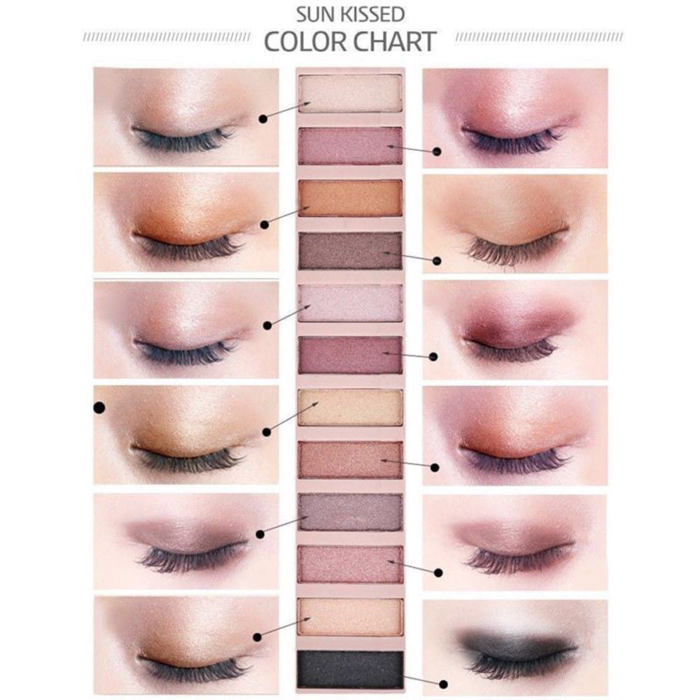 Cosmetic Makeup Shimmer Matte Naked 12 Colors Pigment Eyeshadow Palette Sombras - Dirty girl cosmetics
