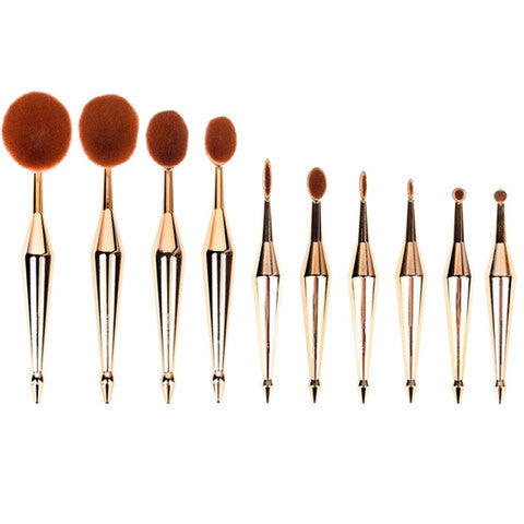 10 Piece Metallic Gold Oval Brush Set - Dirty girl cosmetics