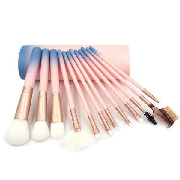 12 Piece Pink Ombre Brush Set - Dirty girl cosmetics