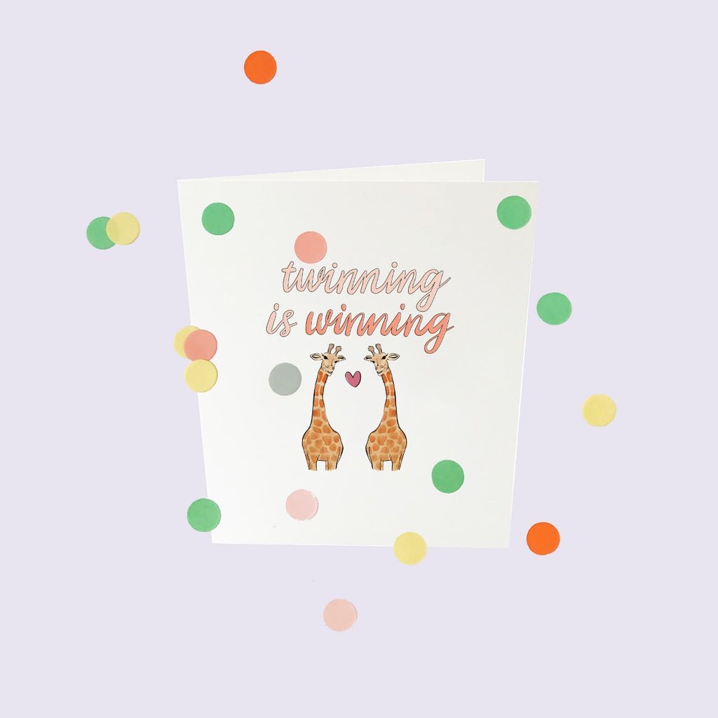 CONFETTI CARDS BABY - TWINNING IS WINNING