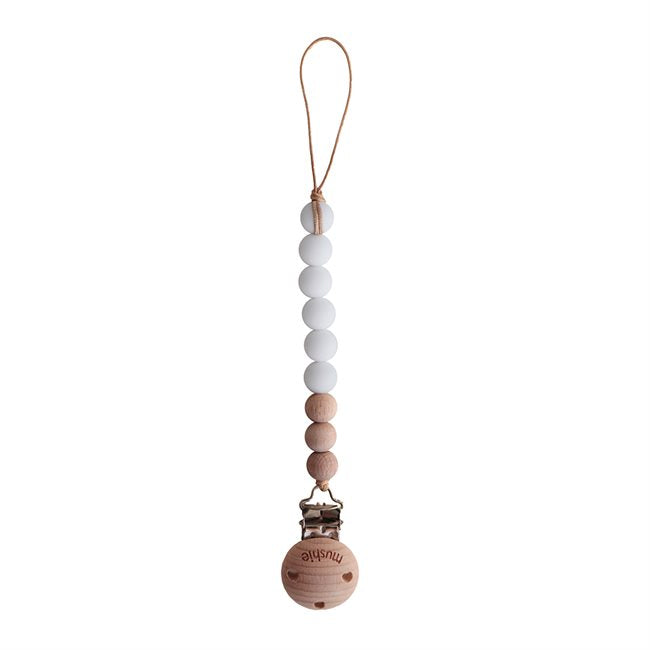 Mushie Pacifier Clips Cleo White