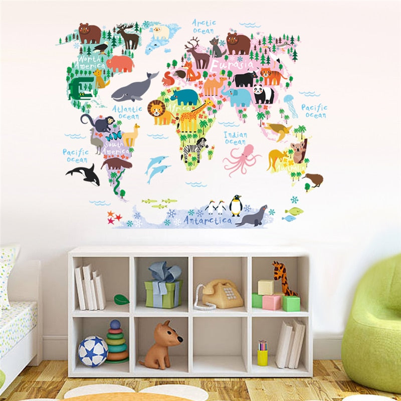 Multi-Coloured Animal World Map Wall Sticker