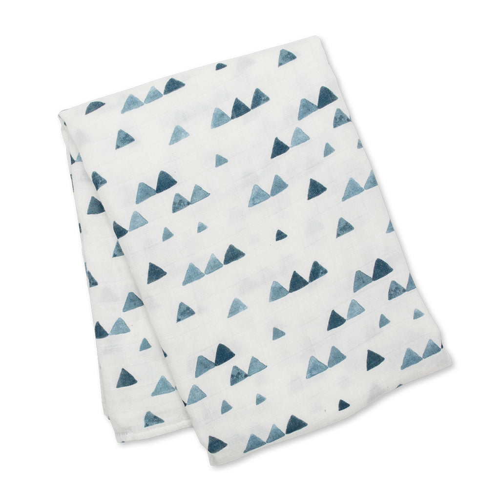 Bamboo Swaddle Blanket - Navy Triangles