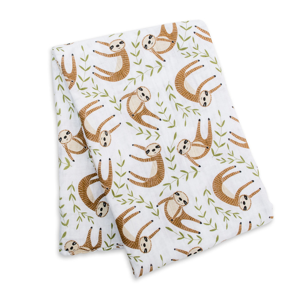 Cotton Muslin Swaddle Blanket 1 Pack Sloth