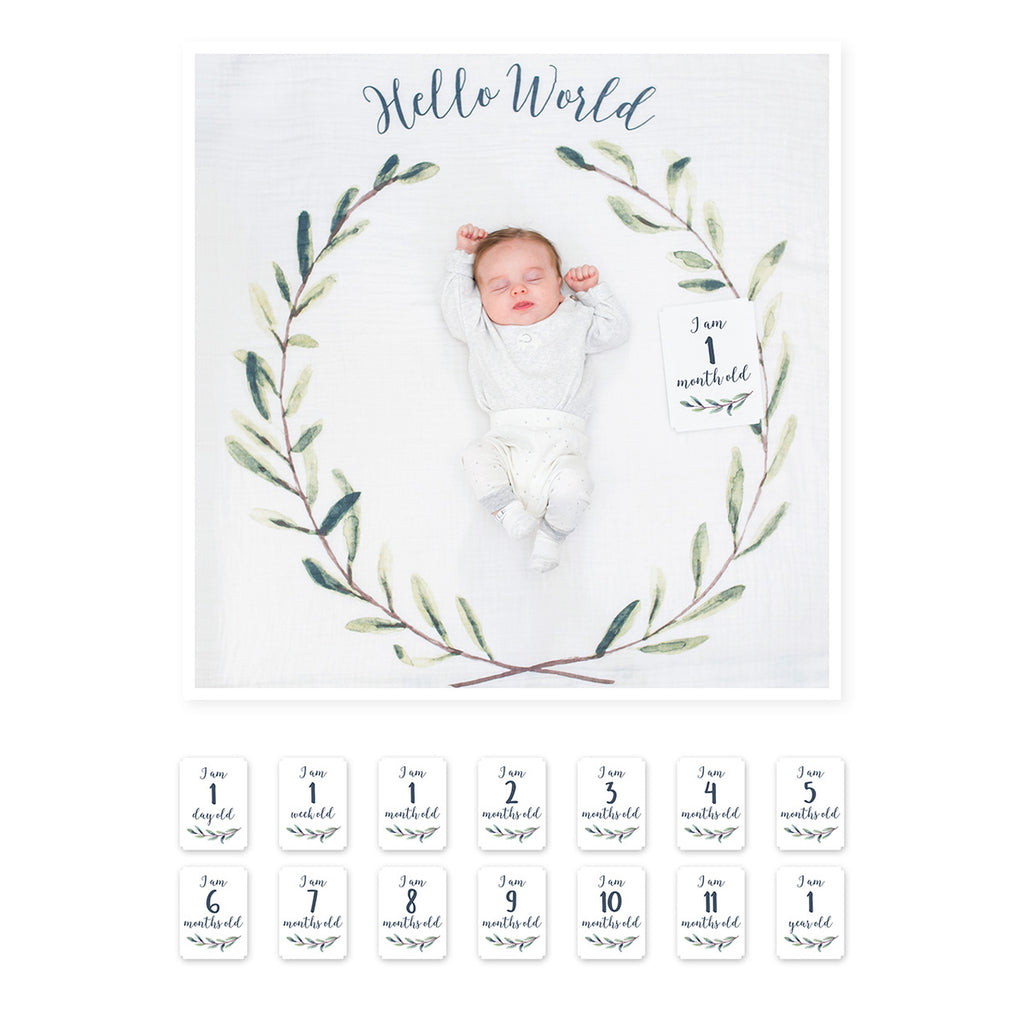 Baby's First Year Blanket & Card Set-Hello World