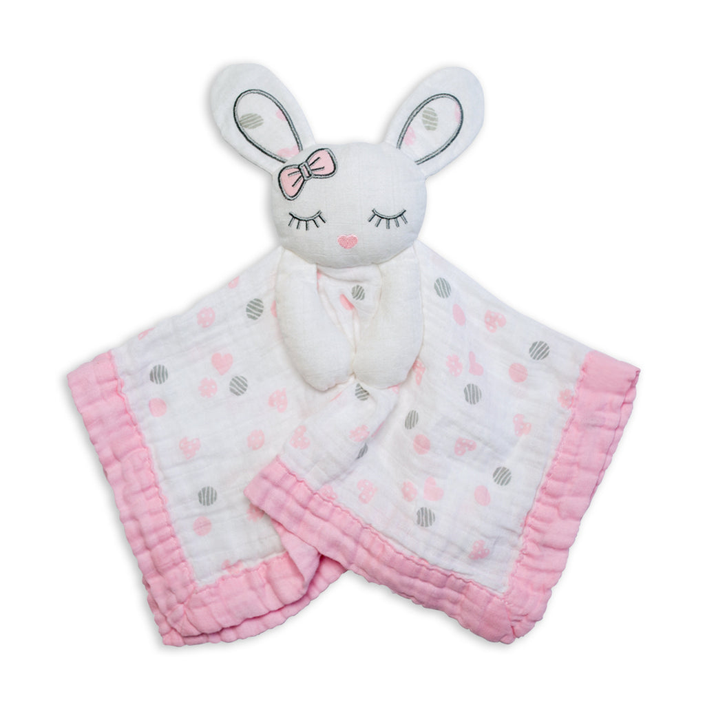 Cotton Muslin Lovie - Pink Bunny