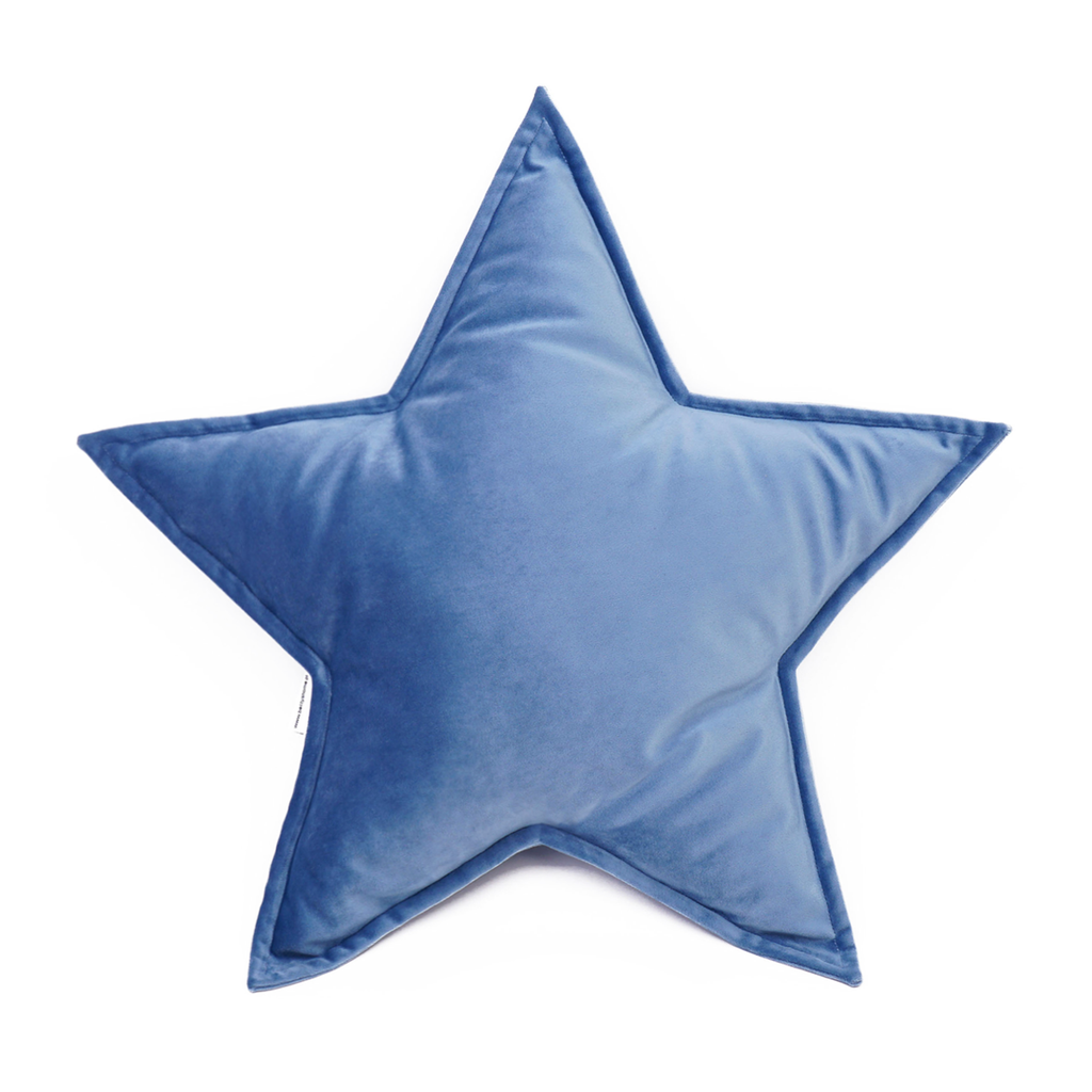 Velvet Star Cushion - Blue