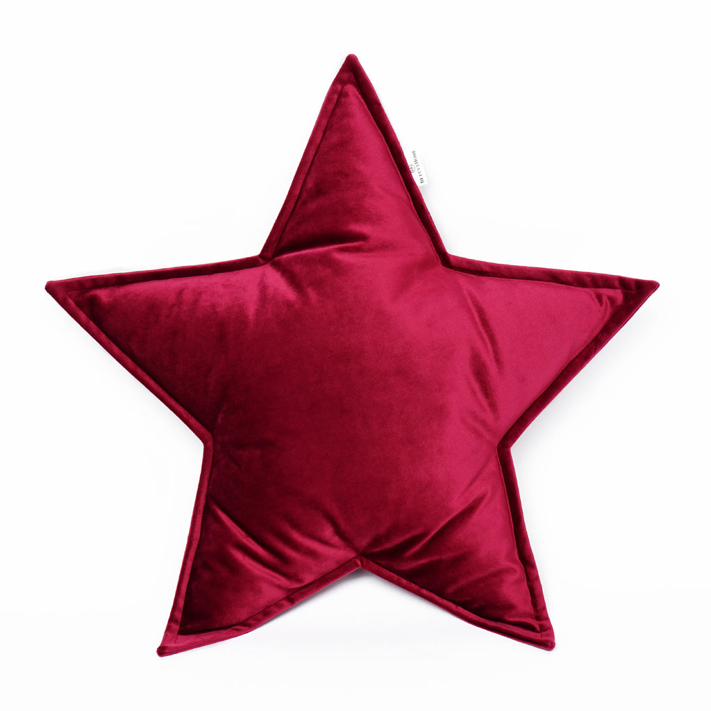 Velvet Star Cushion - Wine
