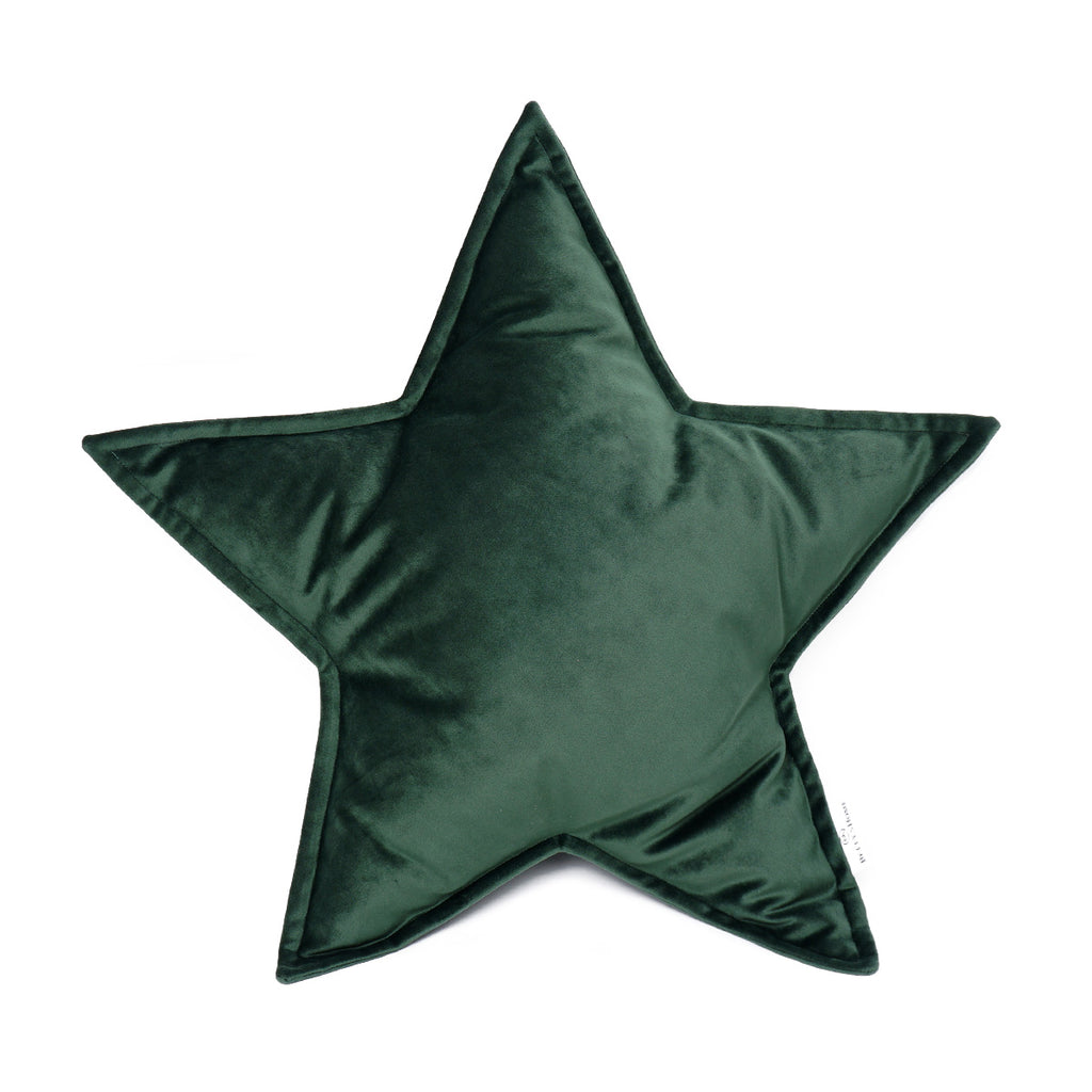 Velvet Star Cushion - Green