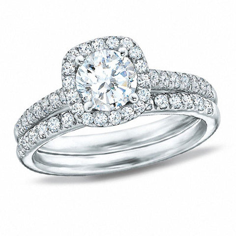 1.70 CT. T.W. Diamond Framed Bridal Set in 14K White Gold