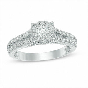 0.75 CT. T.W. Diamond Frame Split Shank Engagement Ring in 14K White Gold