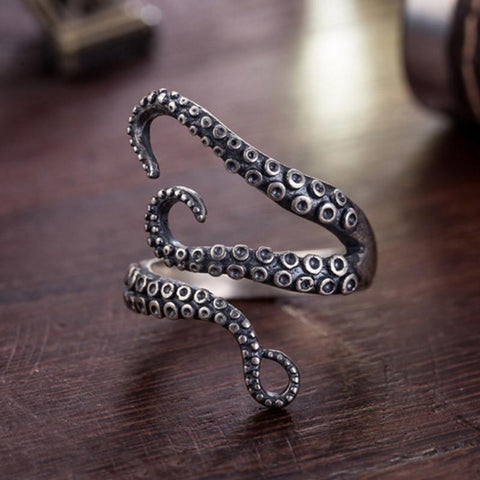 Titanium Steel Gothic Deep Sea Squid Octopus Finger Rings Fashion Jewelry Opened Adjustable Sizes