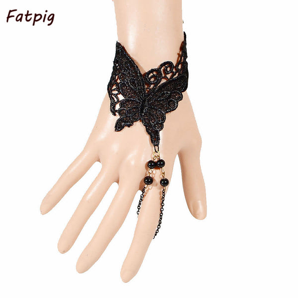 1pcs Trendy Punk Style Black Butterfly Pattern Lace Bracelets Beads Chain Set Lolita Gothic Lace Harness Bracelet Jewelry