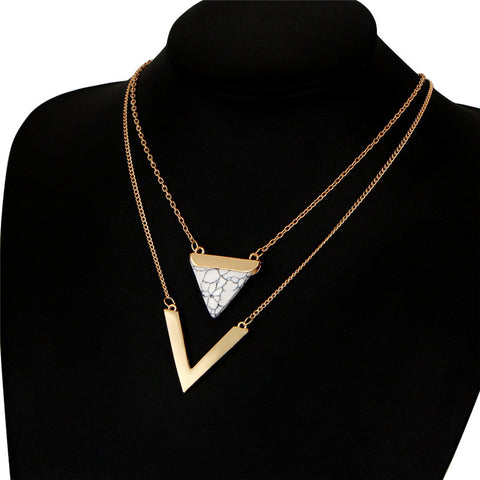 2 Color V Shape Stone Triangle Double Layer Pendant