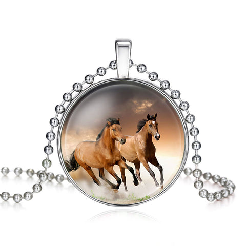 NingXiang New Arrival Silver Color Glass Cabochon Pendant Horse Picture Necklace Women Girl Statement Wholesale Necklace Jewelry