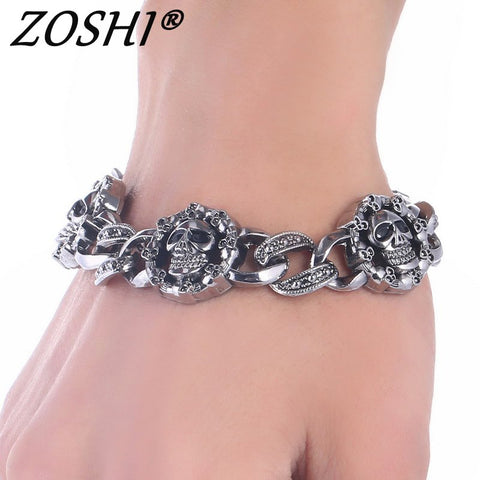 Punk Skull Stainless Steel Charm bracelet for Women