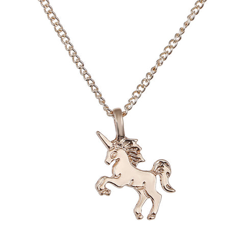 1pc Creative Unicorn Horse Alloy Clavicle Chain Gold/Silver For Jewelry Accessories Necklaces Pendants Pendant Necklaces