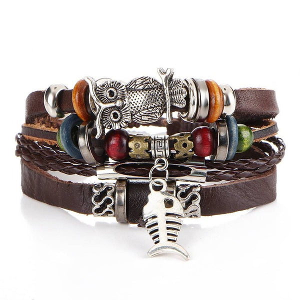 6pcs/set Leather Bracelet Men Multilayer Punk Skull Star Charm Wrap Bracelets