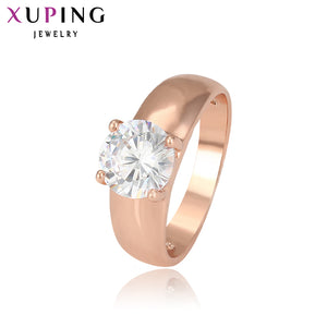 Xuping Fashion Female Ring Unique Beautiful Rose Gold Color Plated With White Synthetic CZ Christmas Rings For Women 12838