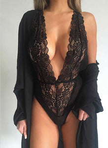 Hot lace v neck black Bodysuit Women Sexy Lace Lingerie Dress
