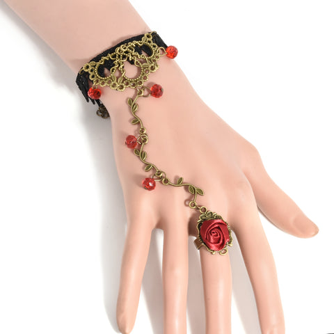 Gothic Women Retro Lace Flower Cane Charm Temperament Chain Ring Jewelry Utility