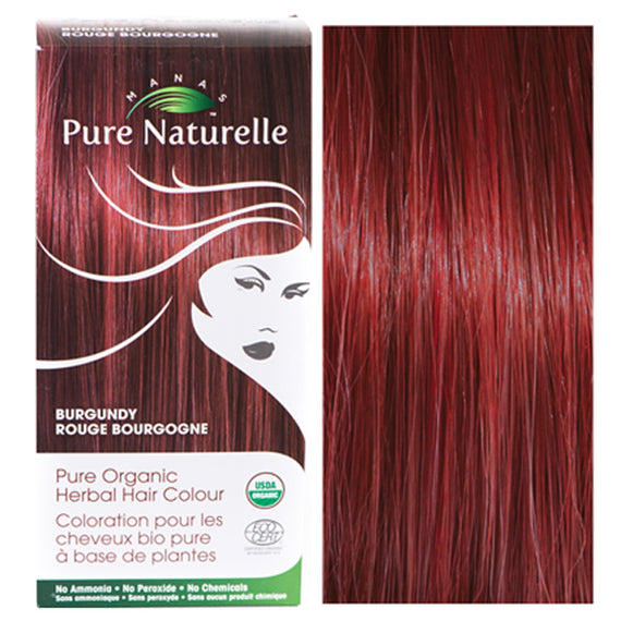 Pure Organic Herbal Hair Colour: BURGUNDY by Manas PURE NATURELLE