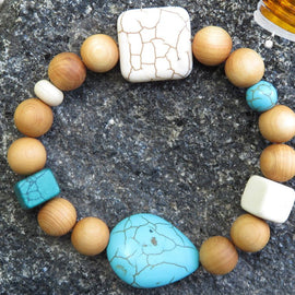 Best Natures all Natural Aromatherapy Bracelet with Cedar Wood Beads, Turquoise Howlite, ant other semi precious stones ...
