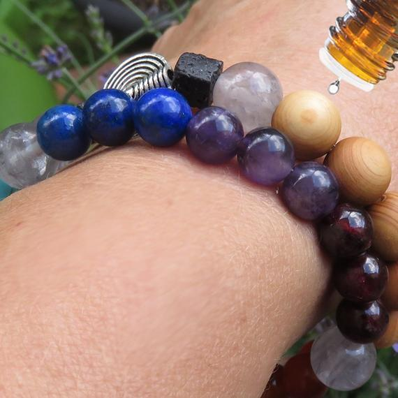 Aromatherapy DIFFUSER BRACELET and 7 Chakra Bracelet - Set of 2