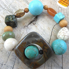 Best Natures all Natural Aromatherapy Bracelet with Cedar Wood Beads, Kambaba Jasper, Bamboo Leaf Jasper, Turquoise Howlite, ant other semi precious stones ...