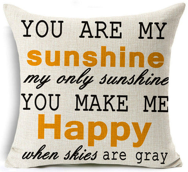 You Are My Sunshine Pillow Cover YGD Garden Home Adorable You Are My Sunshine Decorative Pillow
