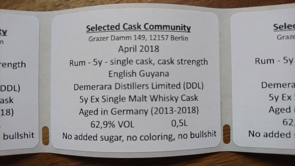 Selected Cask #4 - Rum 5y, Single Cask English Guyana, 62,9%VOL, 0,1 L - Single Cask Rum from Selected Cask Community