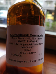Selected Cask 2019# Mai - Rum 14y, Single Cask Martinique 51, 07%VOL, 0,5 L