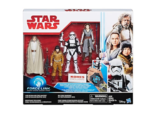Star Wars: The Last Jedi 4-pk Luke Skywalker (Jedi Master), Rey (Jedi Training), First Order Stormtrooper Officer & Resistance Tech Rose Figure Set Kohl Exclusive Preorder