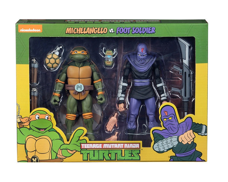 TMNT CARTOON MICHELANGELO VS FOOT SOLDIER 2 Pack
