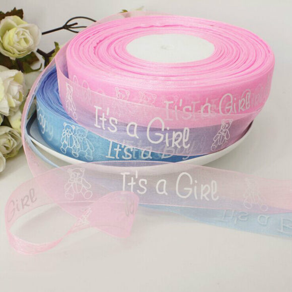 12 Yd Its A Boy/Girl Printed Ribbon