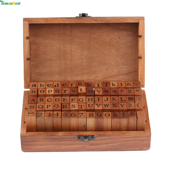 70 Pc Wooden Alphabet And Number Stamp Set