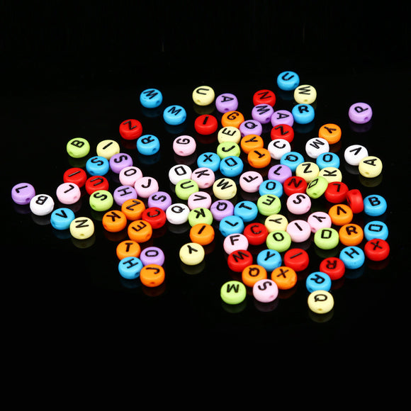 100 Pc English Mixed Acrylic Alphabet Beads