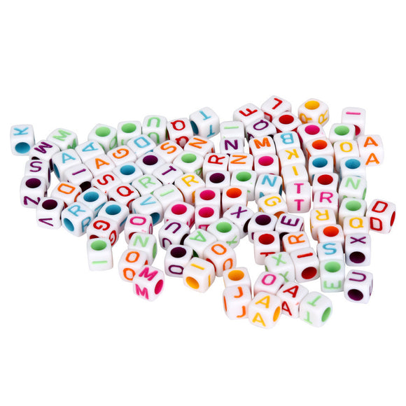 100 Pc Mixed Acrylic Alphabet Bead Cubes