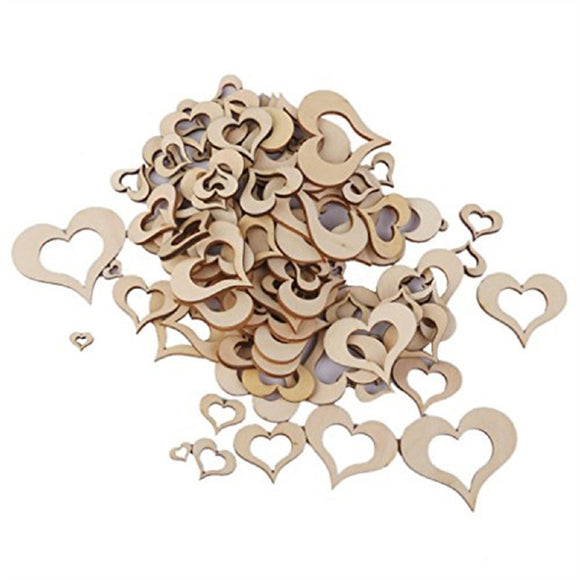 100 Pc Wooden Hollow Hearts