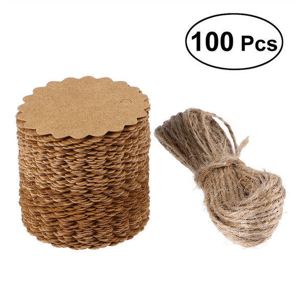 100 Pc 60mm Scalloped Tag with 10M Jute Twine