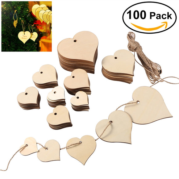 100 Pc Wood Heart Slices with 10M Twine