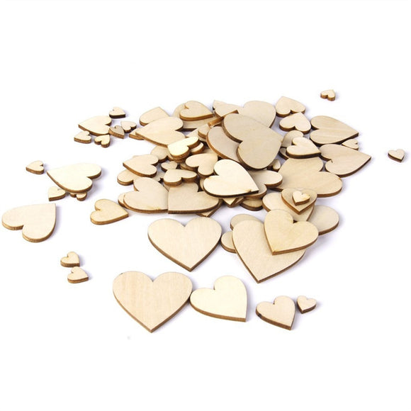 100 Pc Wooden Hearts