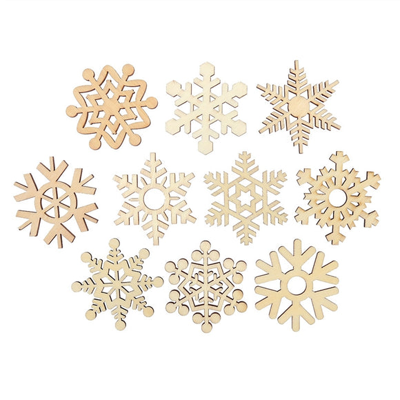10 Pc Assorted Wooden Snowflake Cutouts