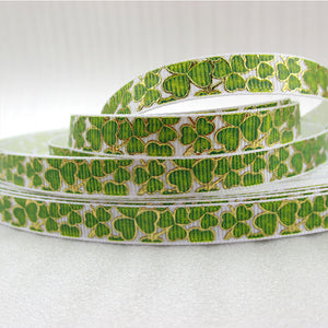 "5 Yd 3/8"" St Patricks Day Gold Printed Ribbon"