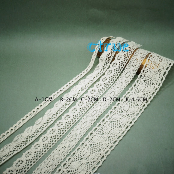 5 Yd Cotton Crocheted Lace Trim Ribbon