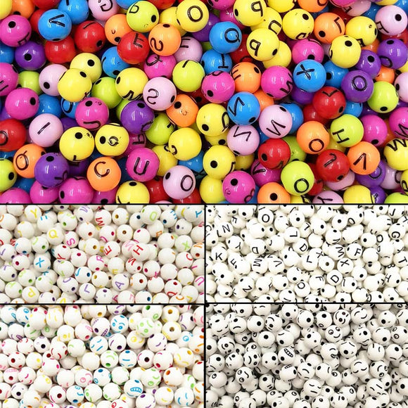 100 Pc  Round Shape Letter/Smile Bead
