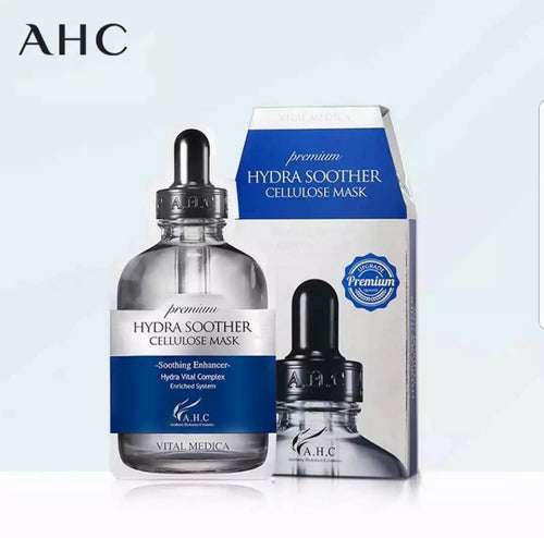 AHC Premium Hydra Soother Cellulose Mask-1 Box 5 Sheets 韩国AHC B5玻尿酸修护补水保湿面膜 27ml*5片